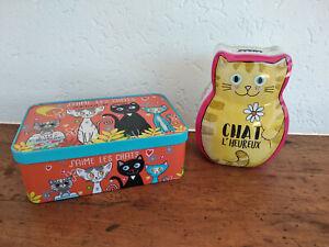 Jolie tirelire chat + boite a sucre en métal Chat ,neuves