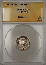 1945-S Silver Mercury Dime 10C ANACS MS-66 Micro S (Toned 11 B)
