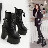 Womens Fashion Punk Buckle Strap Chunky High Heels Platform Gothic Ankle Boots