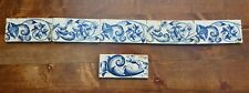 6 Antique Dutch Delft Edge Fireplace Floral Tiles and 1 tile with dog