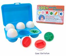 EGG SHAPE SORTER IN PLASTIC CASE Pretend Food Toy Kitchen Puzzle Matching Toy