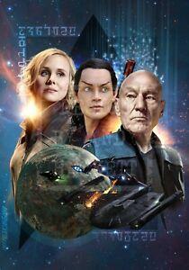 A3 Poster Print Star Trek Picard Enterprise Borg fanart Patrick Stewart 20%off