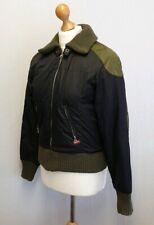 Miss Sixty Vintage Bomber Jacket Coat Size M Medium Black Khaki Green