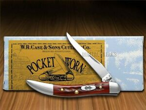 Case xx Toothpick Knife Pocket Worn Jigged Old Red Bone Handle 00792