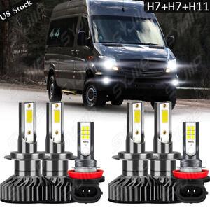 For Mercedes-Benz Sprinter 2500 3500 6pcs LED Headlight Bulbs+Fog Lamp Combo Kit