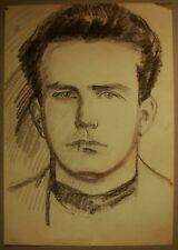 Russian Ukrainian Soviet pastel painting realism male portrait boy 1950s
