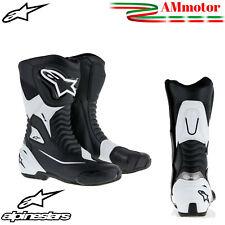 Stivali Moto Alpinestars Smx S Black White Sporti Touring Pista Pelle N 42