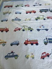 pottery barn kids twin trucks cars fire engine blue gingham comforter quilt sham