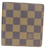 Authentic LOUIS VUITTON Bifold Wallet Purse Damier Leather Brown N61666 66MA152