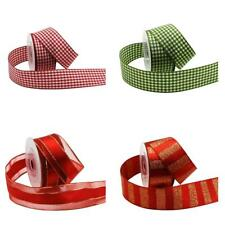 4x Assorted 3 Meters Grid Striped Polyester Ribbons for Christmas Craft 25mm