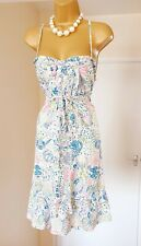 TIMBERLAND Blue White Pink Floral Fit & Flare Summer Tea Party Sun Dress 12 🌸