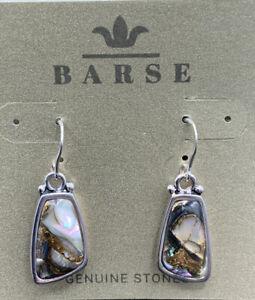 Barse Basics Abalone Earrings- Silver Overlay- NWT