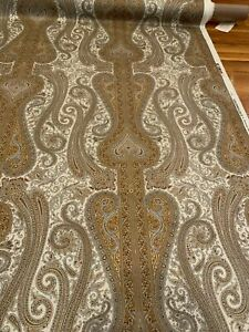 Schumacher Chavant Paisley Cotton Satin Print Italy Upholstery Fabric 10.5 Yards
