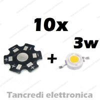 10X Chip led 3W bianco freddo 600mA 3V 3.6V dissipatore alluminio lampadina bulb