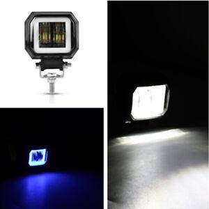 "1x 20W 3"" LED Square Spot Work Driving Light Offroad Car SUV ATV Blue Angel Eyes"