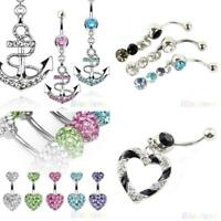 AM_ Dangly Crystal Belly Button Bars Surgical Steel Navel Rings Body Jewellery G