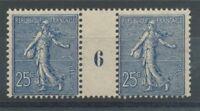 MILLESIME 6 sur Semeuse lignée N°132, 25c. bleu NEUF*, TB COTE 300€ P1339