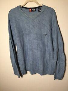 Chaps Ralph Lauren mens blue cotton knit jumper size XL long sleeve