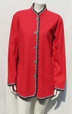 KOOS of course! Reversible Red Print Stretch Linen Silk Jacket Top size L EUC