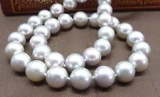 "HUGE 18""11-12mm natural south sea genuine white round pearl necklace d3AAA"