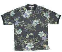 VTG TOMMY BAHAMA Mens Size Large Green Floral Textured Cotton Polo Shirt