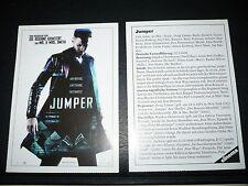 JUMPER film card [Hayden Christiansen, Jamie Bell, Samuel L Jackson, Diane Lane]