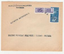 STORIA POSTALE 1965 REP. REC. AUTORIZZ L.20 POSTAPNEU+L.10P.POST MACERATA Z/3012