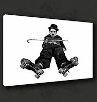 CHARLIE CHAPLIN ROLLER SKATING FILM WALL ART CANVAS PRINT PICTURE READY TO HANG