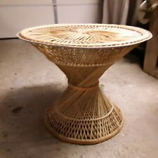 Vintage Woven Rattan Coffee Accent End Side Table Wicker