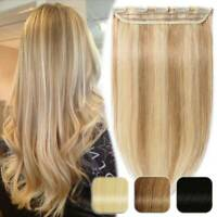 Clip in 100% Remy Human Hair Extensions Full Head One Piece Weft Straight Wavy