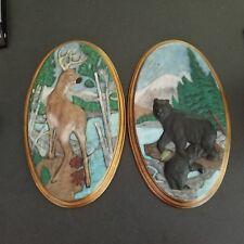 "Two Vintage 16"" Holland Mold Wall Plaques! Bear Buck Deer Cub Beautiful!"