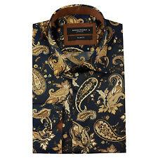 Mens Regular Fit Blue Gold Silk Paisley Italian Design Shirt Wedding Party S-4XL