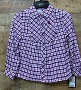 Carhartt Girls Long Sleeve Flannel Shirt Size 5 Plaid Purple & White New w/Tag