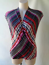 New Brown Sugar stretch sleeveless top size 8 print NWT grey red black