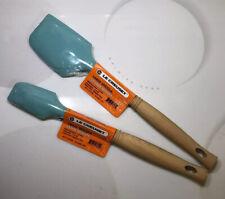 """""""Cool Mint"""" LE CREUSET Revolution Small & Medium Spatulas Wooden NWT Green"""