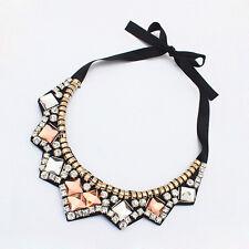 Fashion Women Lady Acrylic Bib Crystal Ribbon Collar Pendant Statement Necklace
