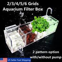 2-6 Grids Acrylic External Hang On Filter Box Aquarium Fish Tank w/ Water Pump
