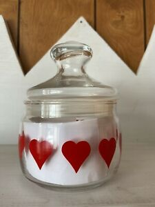 Pasabahce Clear Glass Printed Red Heart Decal Jar Valentines Day