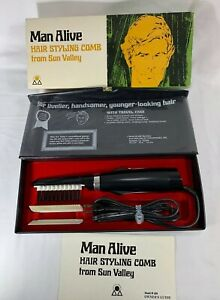 Vintage 70s SUN VALLEY Hair Styling Comb for Men MAN ALIVE w/Box, Model M 200 A+