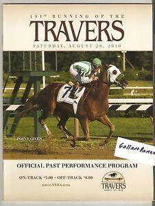 2010 TRAVERS UNCLE MO MAIDEN PROGRAM w KENTUCKY DERBY WINNER POINT GIVEN RACHEL