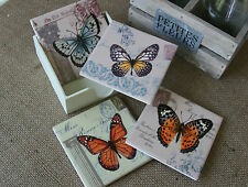 Set of 4 Ceramic Butterfly Coasters Vintage Postcard Chic Retro