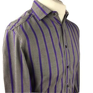 Marks & Spencer Mens Shirt Small Casual L Sleeve Autograph Black Purple Stripe
