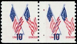 1519, Huge Red Color Shift Error Pair Mint VF NH 10¢ -- Stuart Katz