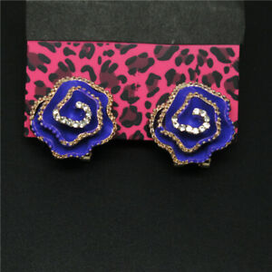 Shiny Purple Enamel Crystal Classic Rose Betsey Johnson Women's Stand Earrings