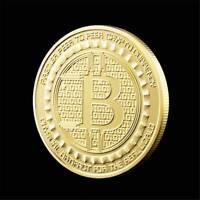 1Pcs Gold Plated Bitcoin Coin Collectible Gift BTC Coin Art Collection Physical