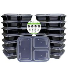 Freshware 15-Pack 3 Compartment Bento Lunch Boxes with Lids/Stackable/reusable