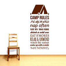 Camp Rules - Quotes Wall Decals