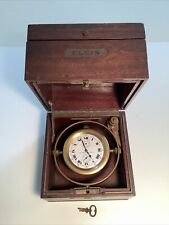 "Antique Elgin National Watch Co ""Father Time"" Ship'S Marine Chronometer"