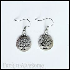 Tree of Life  EARRINGS.  Silver.  15mm ROUND.  Vintage, Boho.  By Funk n Awesome