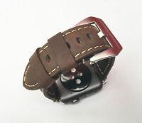 braun Leder Armbanduhr Uhrenarmband für Apple Watch Serie 1 2 3 38mm silber